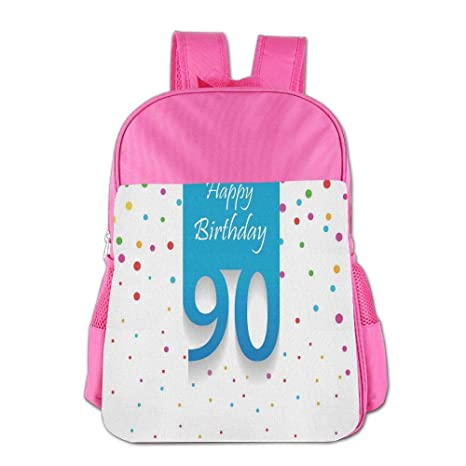 Haixia Child BoysGirls Backpack 90th Birthday Decorations Stylized Framework With Hand Writing Ninety Years Old Polka