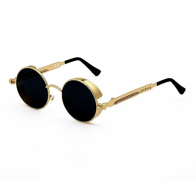 DAWILS Mujer Redondas Gafas de Sol Polarizadas Estilo John Lennon Retro Espejadas Lentes Marco Metálico: Amazon.es: Ropa y accesorios