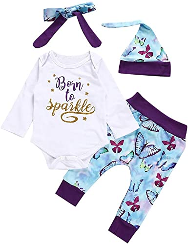 Butterfly Iron Newborn Baby Girls Rompers Set Letters Printed Infant Long Sleeve Romper Jumpsuits Headband Outfits Set
