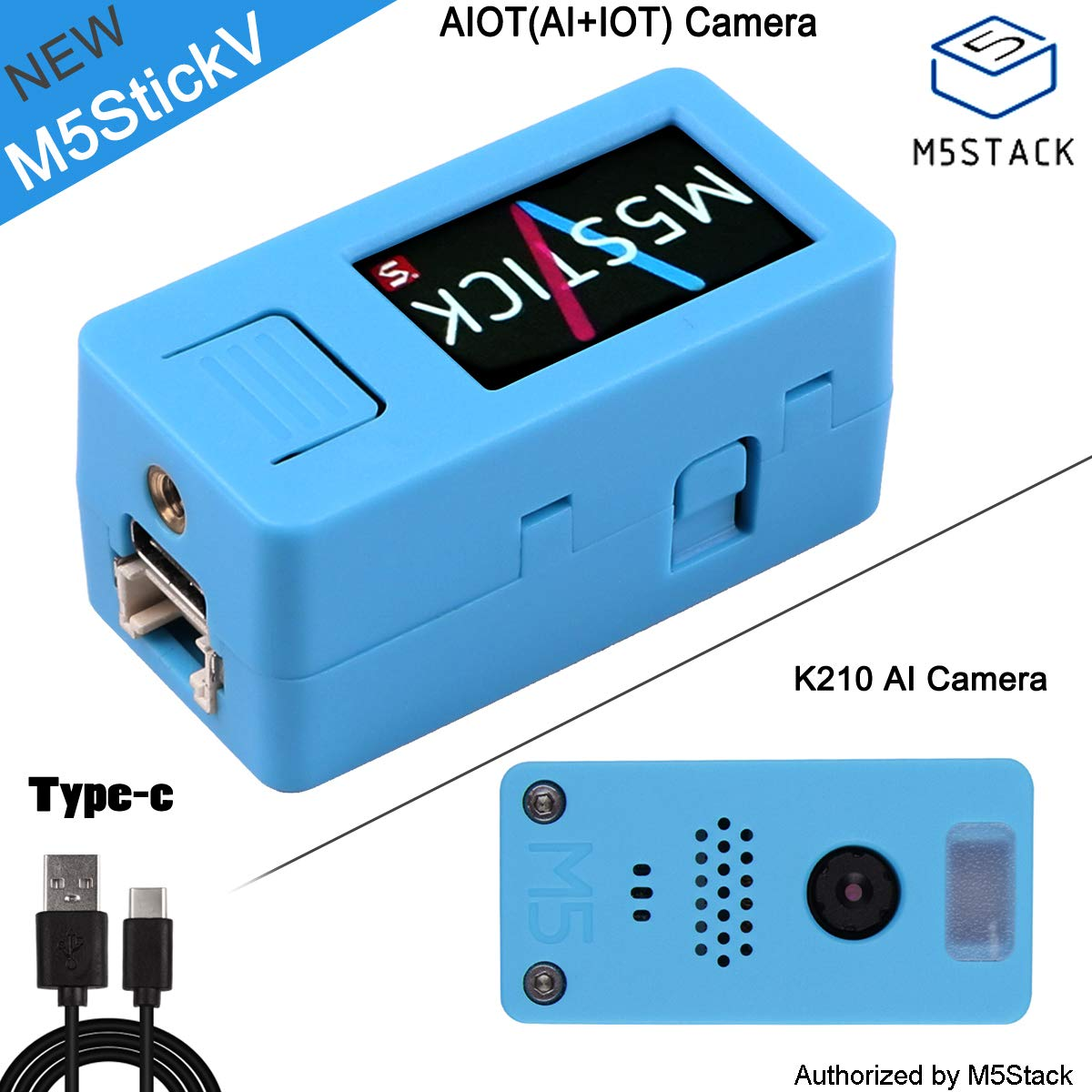 AI Camera AIOT(AI+IOT) Dual-core 64-bit RISC-V with OmniVision OV7740 Sensor with Speaker, Microphone, LCD Screen Display for Face Recognition and Logistics Sorting Robot M5Stack M5Stick-V