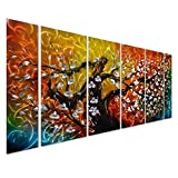 Pure Art Gigantic Tree of Life Metal Wall Art Decor, Colorful 3D Artwork for Modern, Contemporary and Traditional Decor, 6-Panels Measures 24''x 65'', Abstract Great for Indoor and Outdoor Rooms