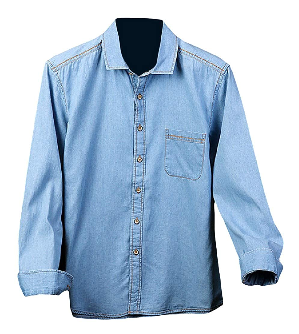 Wopop Mens Fashion Cotton Long Sleeve Button Down Jean Faded Shirts