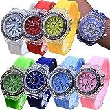 8 Pack LED Luminous Lights Watches for Women Men Unisex Summer Jelly Dress Wristwatches Brand Bracelet Wholesales Assort Set