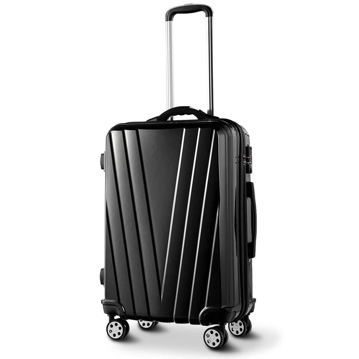 LHONE 3 pcs Luggage Set 20 2428 inches Carry-On Lightweight Hardshell Spinner Travel Trolley Suitcase with TSA Lock Black