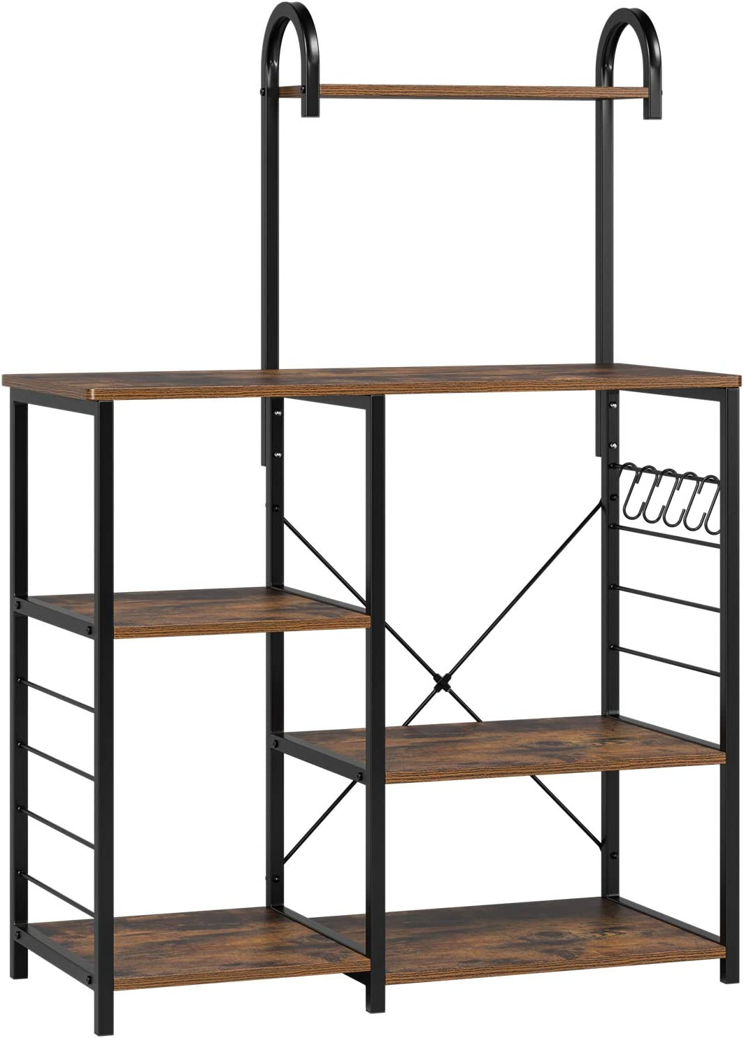 Homfa Kitchen Baker's Rack with High Shelf, Vintage Microwave Stand Utility Storage Shelf Kitchen Island Rack 3-Tier and 4-Tier Multipurpose Organizer Workstation with 5 Hooks, 35.4Lx15.7Wx52H inch