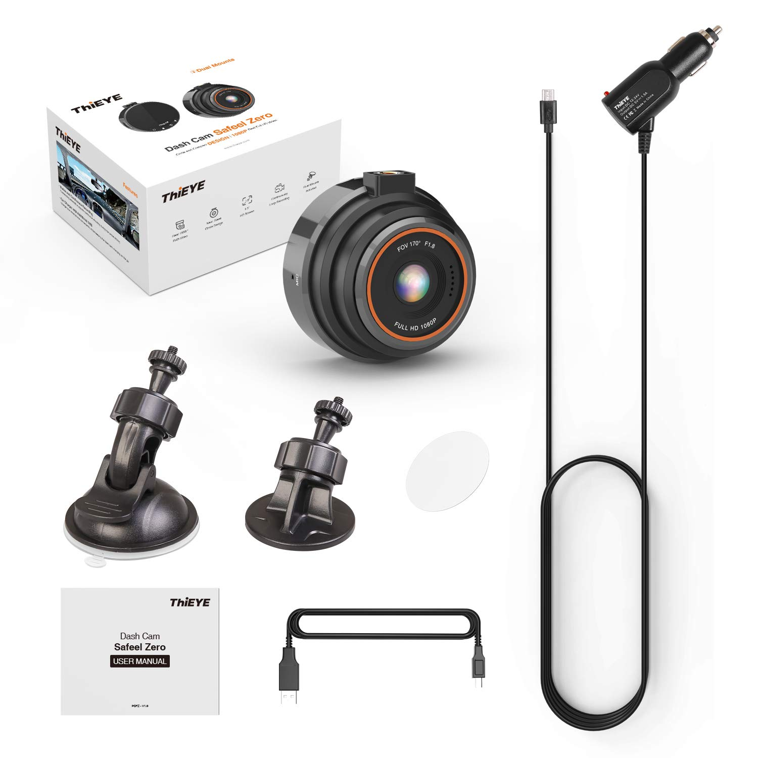 HD Dash Cam 1080P Full HD Car Camera Motion Detection and Parking Monitor Adjustable G-sensor Sound ON//OFF Loop Recording ThiEYE 170/° Wide Viewing Angle Dashboard Camera with Superb Night Version