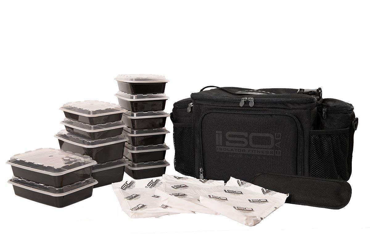 ISOBAG 6 Meal Prep bag - Large Insulated Meal Prep Lunch Box With 12 Containers, 3 Ice Packs & Shoulder Strap (Blackout) MADE IN USA