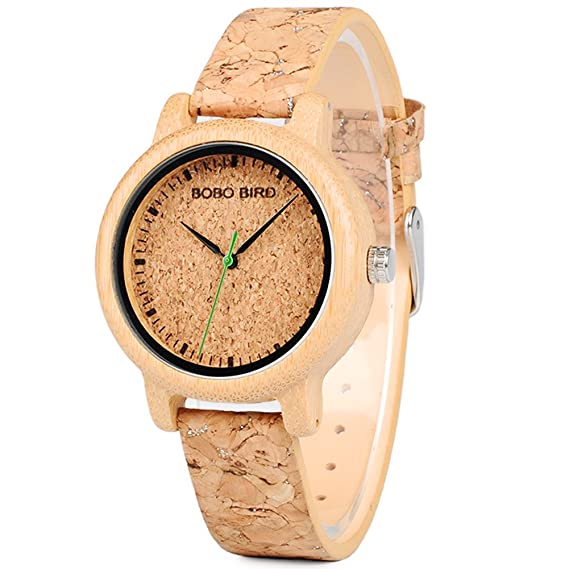 Bobo Bird Mujer Reloj De Pulsera madera Reloj con pulsera de piel madera color: Amazon.es: Relojes