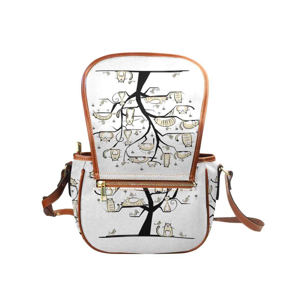 InterestPrint Cat Family on Tree Casual Ladies Cross Body Hobo Shoulder Bag Travel Purse