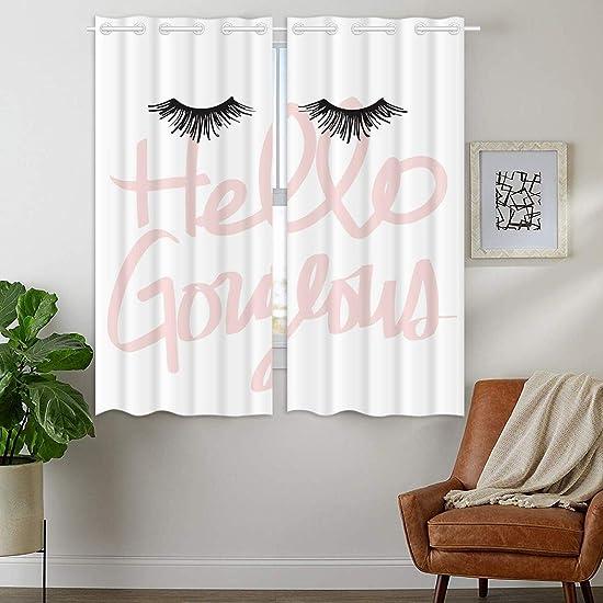 HommomH 28 x 48 inch Curtains 2 Panel Grommet Top Darkening Blackout Room Hello Gorgeous Eyelash Art