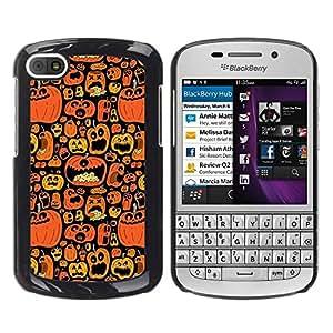 FECELL CITY // Duro Aluminio Pegatina PC Caso decorativo Funda Carcasa de Protección para BlackBerry Q10 // Orange Pumpkin Autumn Drawing