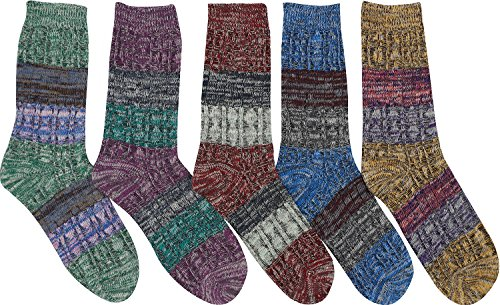 Bienvenu Women's Lady's 5 Pack Colorful Pattern Cotton Socks