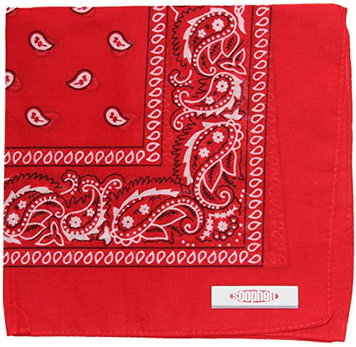 Soophen Paisley One Dozen Cowboy Bandanas (Red 22 X 22 in , 12-Pack) -