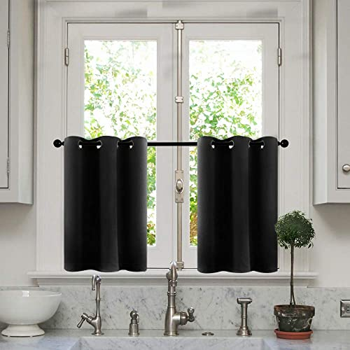 MRTREES Kitchen Tier Curtains Blackout 36 inches Long Black Short Cafe Curtains Room Darkening Small Bathroom Window Curtain Tiers Half Window Curtains Grommet Top 2 Panels