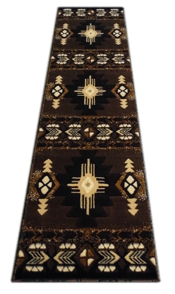 Chocolate (2 Feet X 7 Feet) Runner Southwest Native American Area Rug Runner Design C318 Hunter Green (2 Feet 4 Inch X 10 Feet 11 Inch)