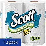 Scott Rapid-Dissolving Bath Tissue, Toilet Paper. 4 Rolls (Pack of 12)