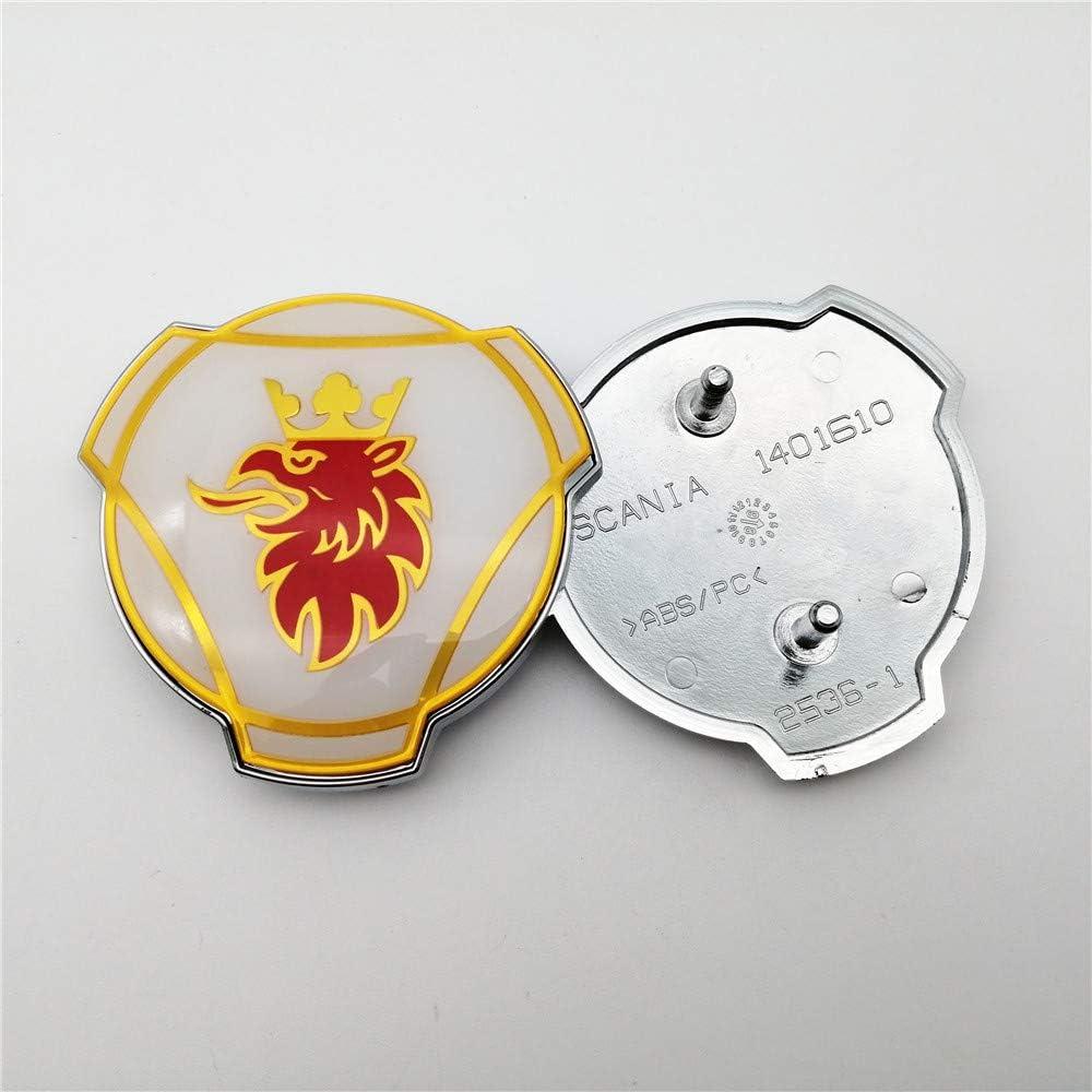 FTC 1 PC per Scania Griffin Badge Logo Camion Personalizzato 80mm ABS Griglia Cofano Emblema V8 Topline 1401610 Bianco Argento