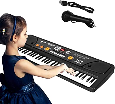 Shayson Teclado Electrónico, Teclado Piano 61 Teclado para Niños Mini Teclado Portátil Piano Musical para Bebés con Micrófono para Niños
