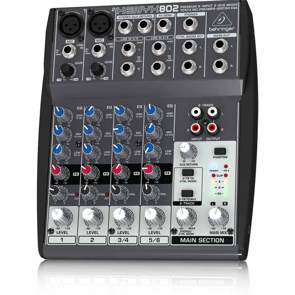 behringer mixer xenyx 802 8 input 2 bus mic preamp eq channel sound audio music ebay. Black Bedroom Furniture Sets. Home Design Ideas