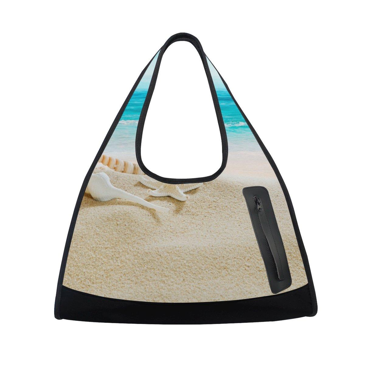 AHOMY Canvas Sports Gym Bag Seahells Beach Seawave Sunshine Travel Shoulder Bag