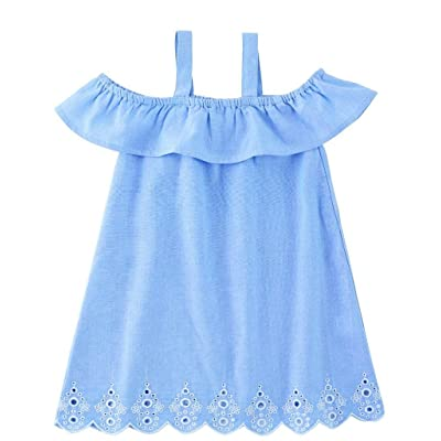 Mud Pie Mini Juniper Girls Dress, Blue With Eyelet, Easter Spring