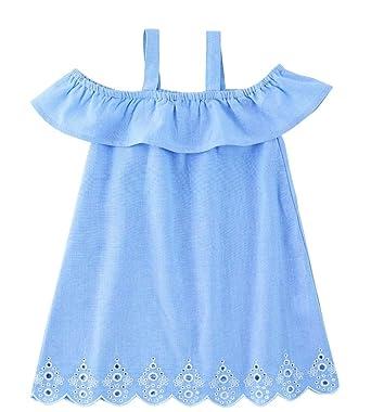 b39ffd75d Amazon.com: Mud Pie Mini Juniper Girls Dress, Blue With Eyelet ...