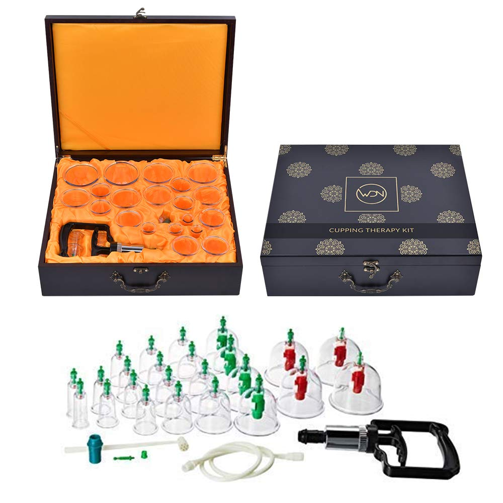 WDN Cupping Set with Pump with 24 Cups, Hand Pump with Extension Tube in an Artistic Decorative Wood Storage Box | Modern Chinese Cupping Therapy Kit for Air Cupping Technique | Improve Health by Generic