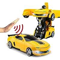 Remote Control Car Gesture Sensing, One-Button Deformation RC Car 1:14 Ratio Simulation Racing Supercar Model Children Transformers Robot Car Dual Mode Stunt Car