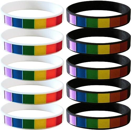 """Nuevo LGBT Orgullo Gay Arco Iris de color de acero inoxidable y pulsera de silicona 8/"""""""