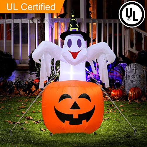 AerWo 4.7ft Halloween Inflatable Blow Up Ghost on Pumpkin, Upgraded Halloween Inflatable Pumpkin with Light for Halloween Outdoor Yard Decoration -