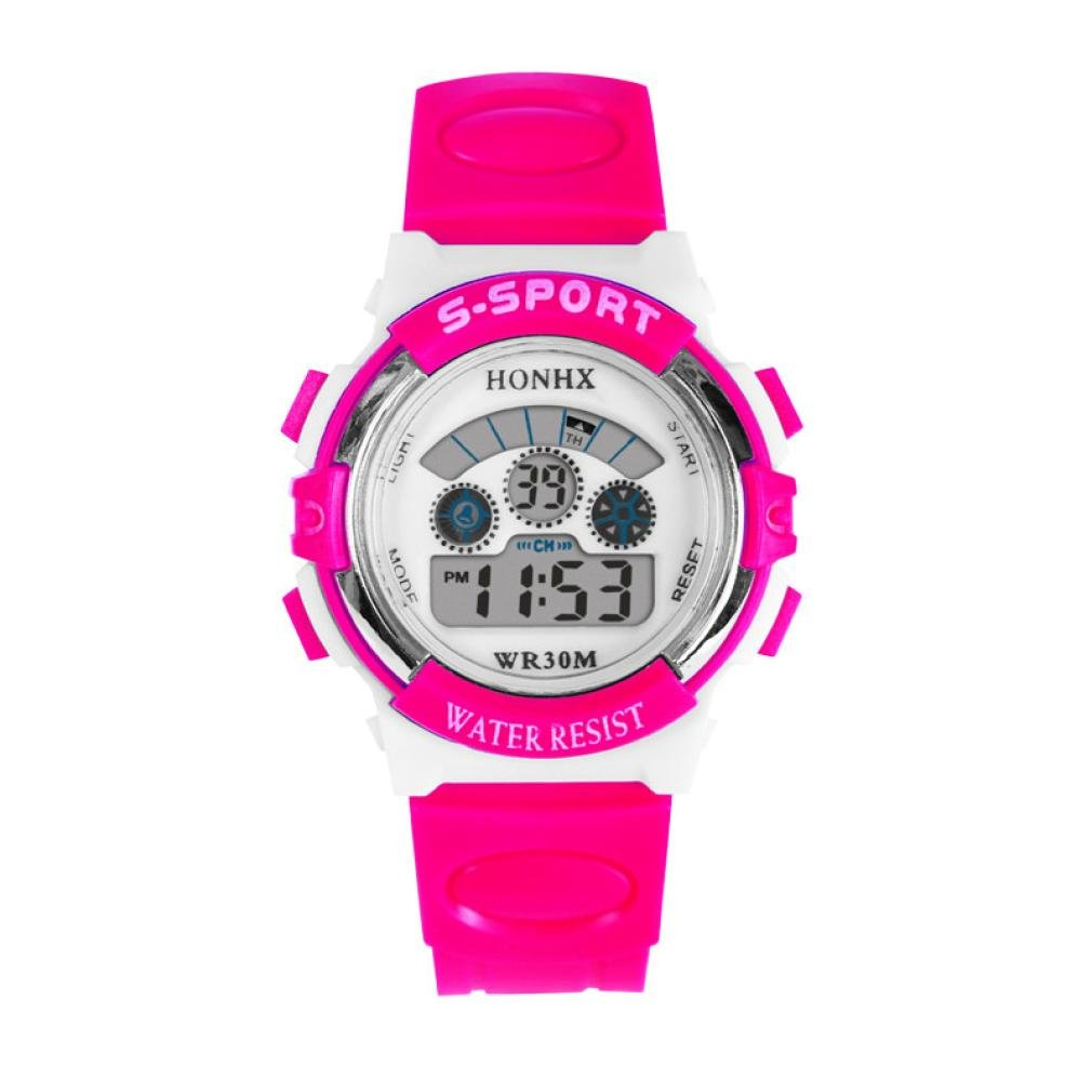 Hemlock Girls Boys Waterproof LED Digital Calendar Watches Silicone Alarm Sports Wrist Watch Hot Pink
