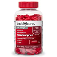 Basic Care Rapid Release Pain Relief, Acetaminophen Caplets 500 mg, Extra Strength...