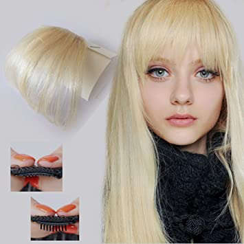 Amazon Com Goessom 613 Bleach Blonde Bangs Hair Extensions Real