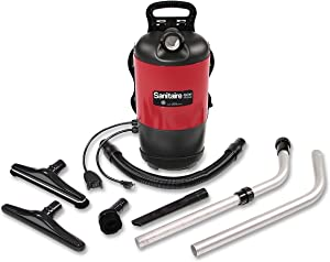 "Sanitaire EURSC412B Quiet Clean Backpack Lightweight Vacuum, 11.5 Amps Power, 21"" Length x 10-1/2"" Width x 10-1/2"" Height, Black/Red"