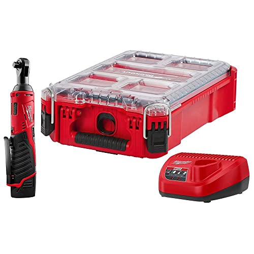Milwaukee M12 12-Volt Lithium-Ion Cordless 3 8 in. Ratchet Kit W PACKOUT Case, 1 1.5Ah Battery and Charger