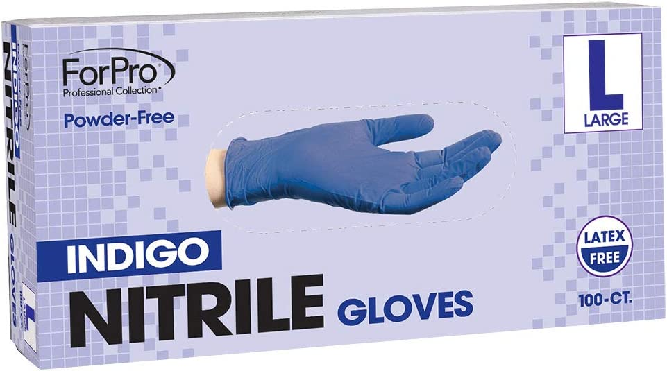 ForPro Indigo Nitrile Gloves - Powder Free, Latex Free, Non-Sterile. Food Safe - 5 Millimeters Thick - Large – 100-Count