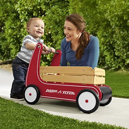 61DKQPofpAL. AC - Radio Flyer Classic Walker Wagon, Sit To Stand Toddler Toy, Wood Walker, Red, Model Number: 612s