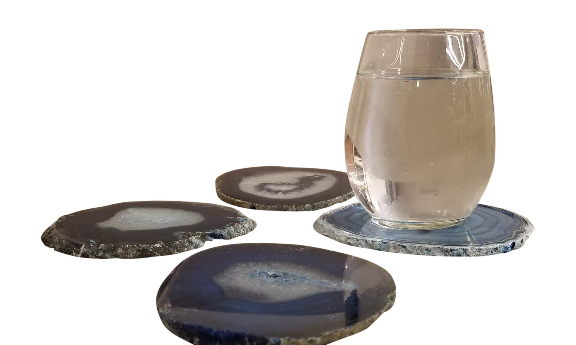 Natural Brazilian Agate Stone Coasters, Bookends and Wind Chimes Set, Incl 4 Large Coasters 4''-5'', 1 Pair of Bookends 2-3 lbs and Wind Chimes, Free Microfiber Polishing Cloth and 2 Mugs (blue) by Enchanted Dwelling (Image #4)
