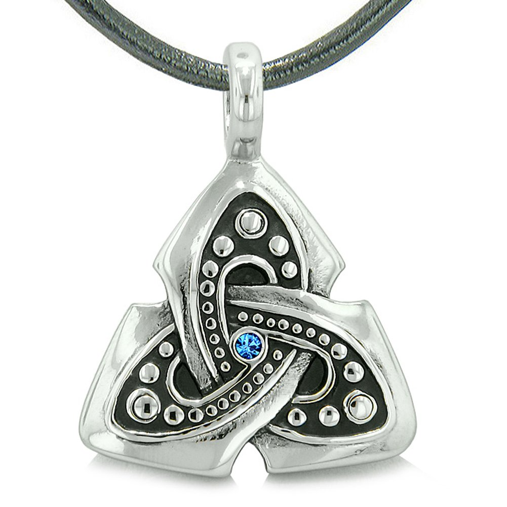 Ancient Viking Celtic Triquetra Knot Amulet Protection Powers Royal Blue Crystal Pendant Leather Necklace