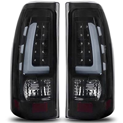 LED Taillights Tail Lamp Compatible with 1999-2006 Chevy Silverado, 99-02 GMC Sierra 1500 2500 3500 Pickup Truck Black Smoke ATTL1020: Automotive
