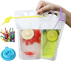 LINONIL 100 Pack Clear Drink Pouches Bags with Straws - Reclosable Zipper Stand-up Plastic Pouches Bags Drinking Bags - 9.06