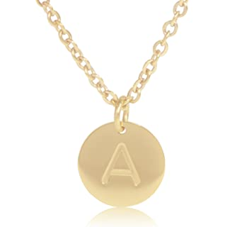18k gold plated round disc engraved initial pendant 18 adjustable necklace with personalized alphabet