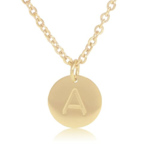 """f32f2b5a69 18K Gold-Plated Round Disc Engraved Initial Pendant 18"""" Adjustable Necklace  with Personalized Alphabet"""