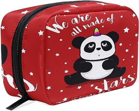 Bonito Estuche de Maquillaje con diseño de Panda, con diseño de Unicornio y Estrellas, Ideal para Viajes o como Organizador de artículos de tocador para Mujeres y niñas al Aire Libre: Amazon.es: