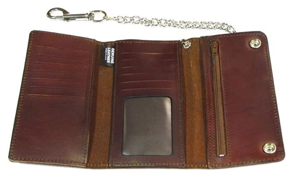 Made in US Biker Mens Buffalo Nickel Snap Antique Genuine Leather Chain Wallet