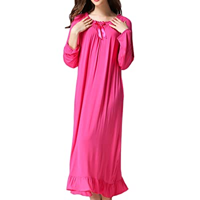 Asherbaby Women's Nightgown Loose Sleepwear Elastic Collar Full Length Victorian Pajamas at Women's Clothing store