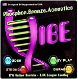 Vibe Strings For Acoustic Guitar, Phosphor Bronze, Vacuum Packaging For Freshness and Long-Life, Easy To Restring, 6 String Pack, LIGHT .011-.050