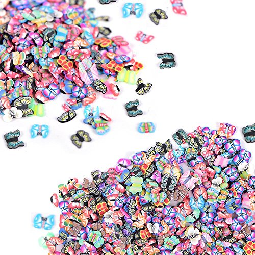 Nails 2000 Pc - 2000 Pcs Butterfly Fimo Slices for Slime,DIY Crafts,polymer clay canes Nail Art Decorations Slices by HONGTIAN