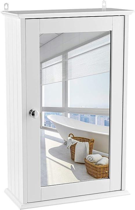 Goplus Armadietto da Bagno a 3 Ripiani da Parete,Mobiletto a Muro con Specchio Sospeso Salvaspazio Bianco 60x18x63 cm