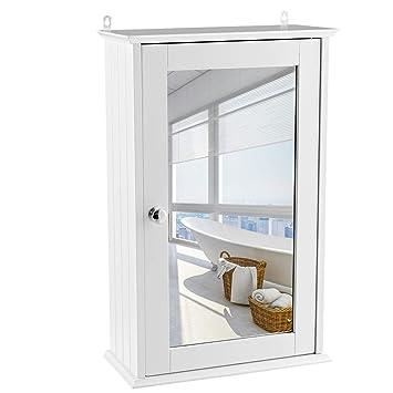 vengaconmigo Armoire de Toilette Murale Meuble à Miroir en Bois de Salle de  Bain avec Etagère de Rangement 1 Porte 34 x 15 x 53 cm Blanche